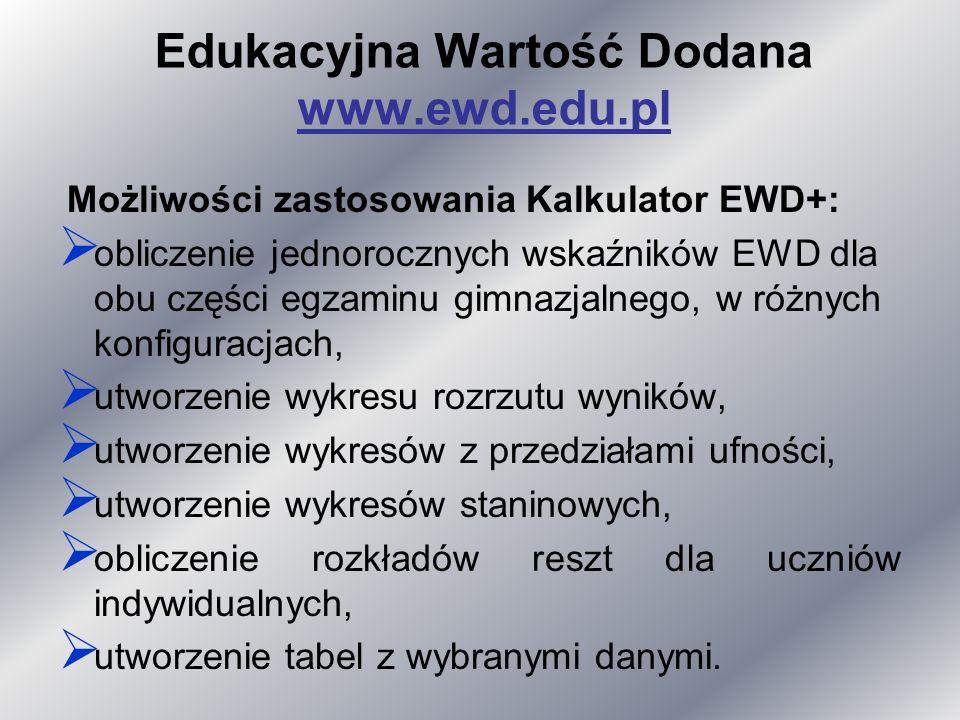Edukacyjna Wartość Dodana www.ewd.edu.pl Możliwości zastosowania Kalkulator EWD+: obliczenie jednorocznych wskaźników EWD dla obu części egzaminu gimnazjalnego, w różnych konfiguracjach, utworzenie wykresu rozrzutu wyników, utworzenie wykresów z przedziałami ufności, utworzenie wykresów staninowych, obliczenie rozkładów reszt dla uczniów indywidualnych, utworzenie tabel z wybranymi danymi.