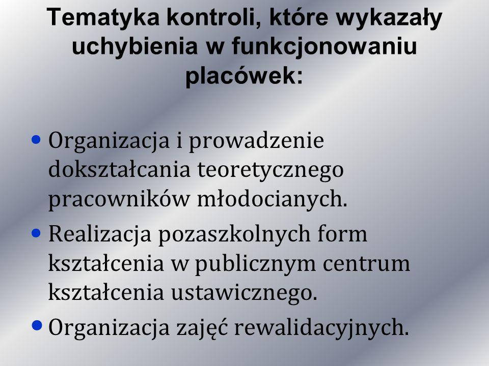 Tematyka kontroli, które wykazały uchybienia w funkcjonowaniu placówek: Organizacja i prowadzenie dokształcania teoretycznego pracowników młodocianych.