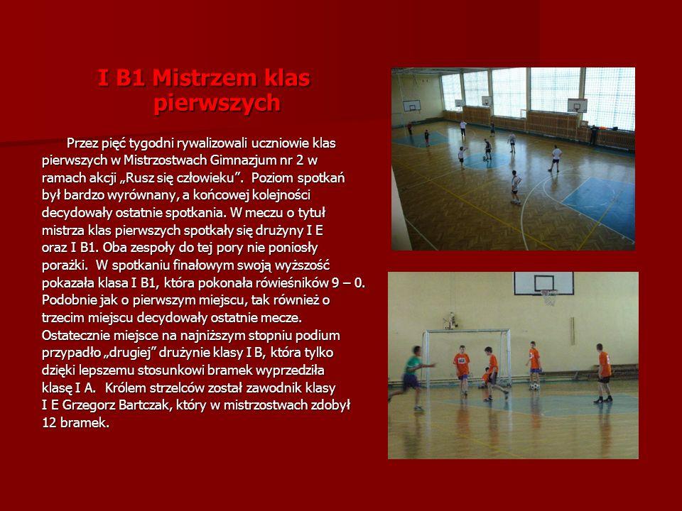 I B1 Mistrzem klas pierwszych Przez pięć tygodni rywalizowali uczniowie klas Przez pięć tygodni rywalizowali uczniowie klas pierwszych w Mistrzostwach Gimnazjum nr 2 w ramach akcji Rusz się człowieku.