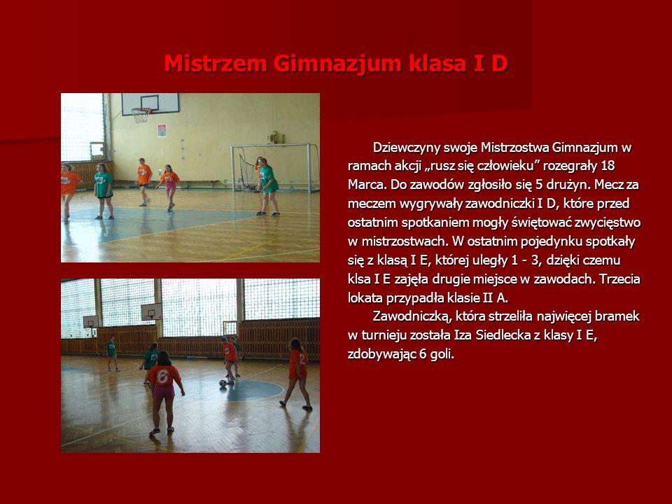 Mistrzem Gimnazjum klasa I D Dziewczyny swoje Mistrzostwa Gimnazjum w ramach akcji rusz się człowieku rozegrały 18 Marca.