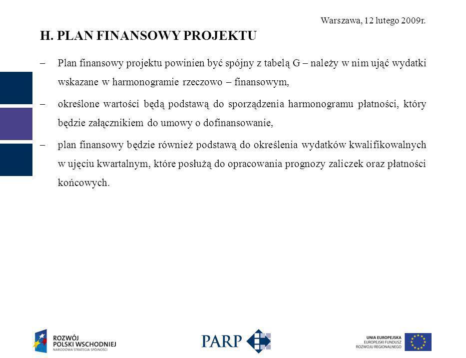 Warszawa, 12 lutego 2009r. H. PLAN FINANSOWY PROJEKTU –Plan finansowy projektu powinien być spójny z tabelą G – należy w nim ująć wydatki wskazane w h