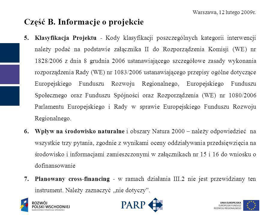 Warszawa, 12 lutego 2009r. Część B.