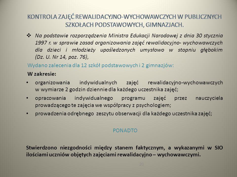 Na podstawie rozporządzenia Ministra Edukacji Narodowej z dnia 30 stycznia 1997 r.