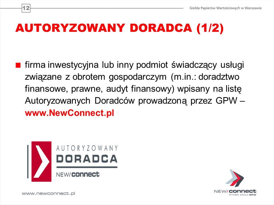 12 AUTORYZOWANY DORADCA (1/2) firma inwestycyjna lub inny podmiot świadczący usługi związane z obrotem gospodarczym (m.in.: doradztwo finansowe, prawn