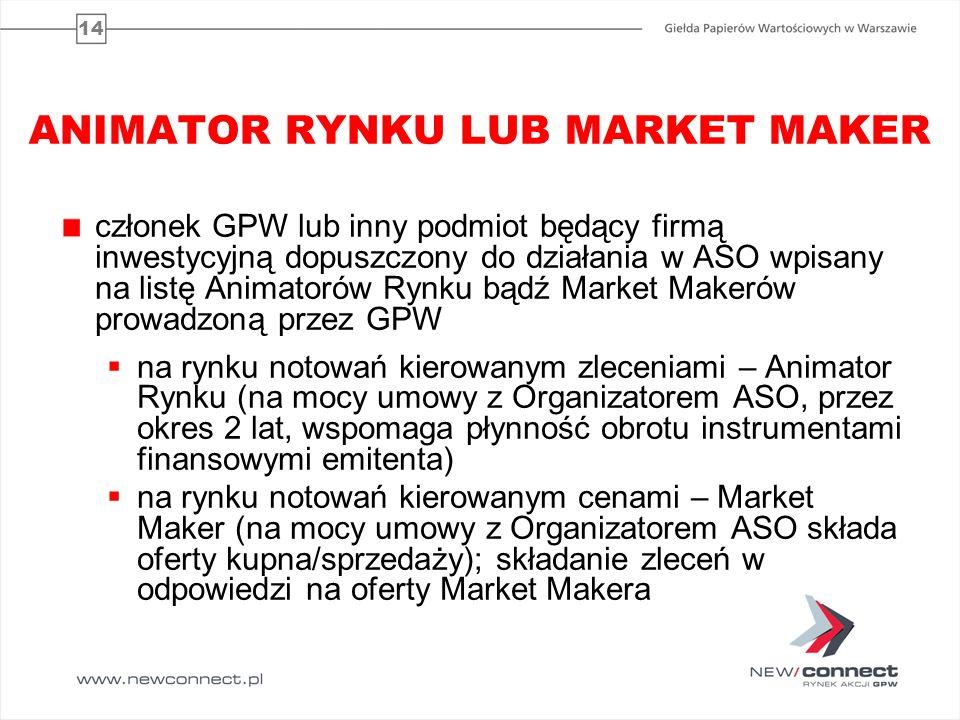 14 ANIMATOR RYNKU LUB MARKET MAKER członek GPW lub inny podmiot będący firmą inwestycyjną dopuszczony do działania w ASO wpisany na listę Animatorów R