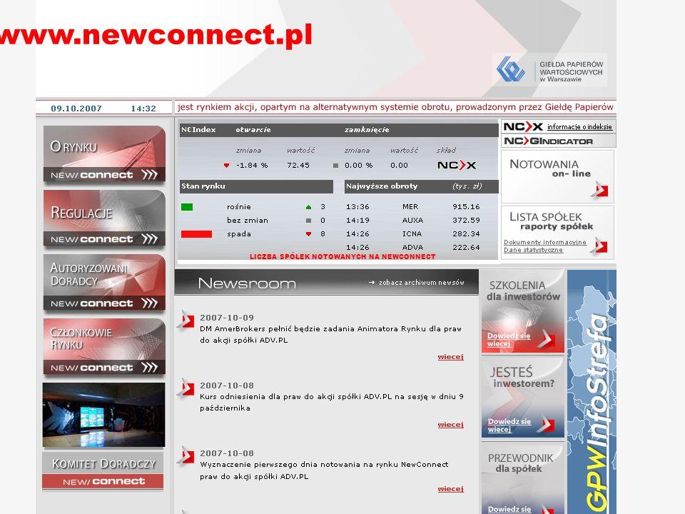 21 LICZBA SPÓŁEK NOTOWANYCH NA NEWCONNECT www.newconnect.pl