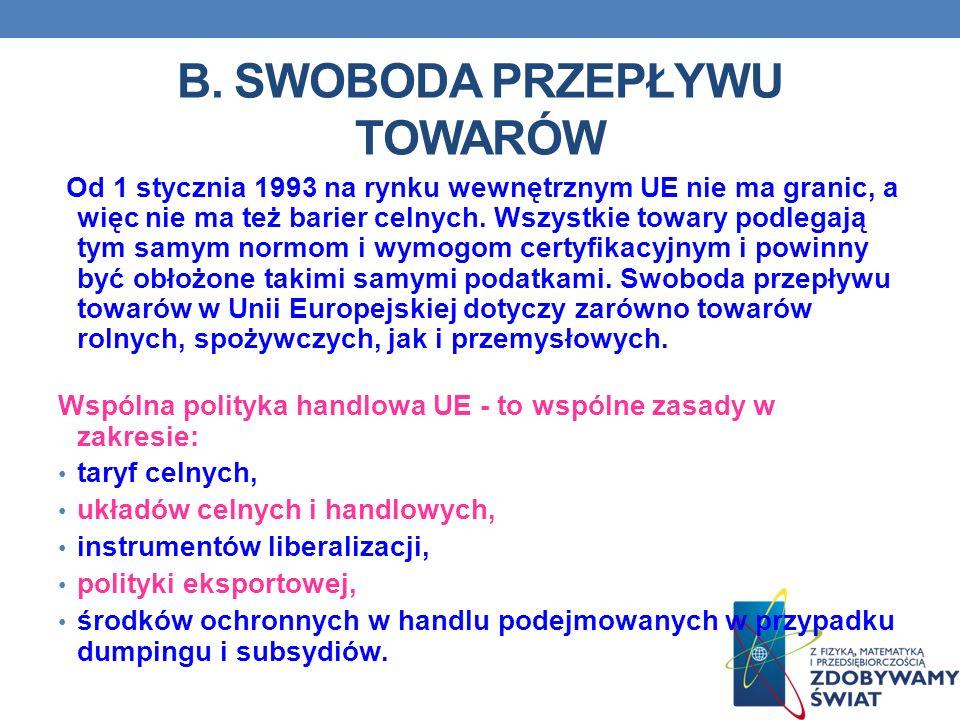 B. SWOBODA PRZEPŁYWU TOWARÓW Od 1 stycznia 1993 na rynku wewnętrznym UE nie ma granic, a więc nie ma też barier celnych. Wszystkie towary podlegają ty