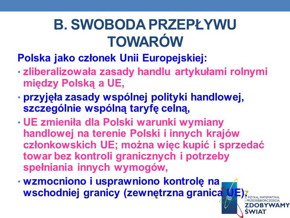 B. SWOBODA PRZEPŁYWU TOWARÓW Polska jako członek Unii Europejskiej: zliberalizowała zasady handlu artykułami rolnymi między Polską a UE, przyjęła zasa