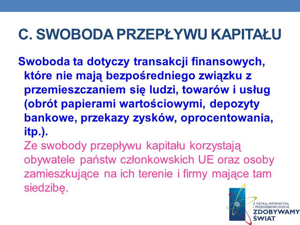 C. SWOBODA PRZEPŁYWU KAPITAŁU Swoboda ta dotyczy transakcji finansowych, które nie mają bezpośredniego związku z przemieszczaniem się ludzi, towarów i