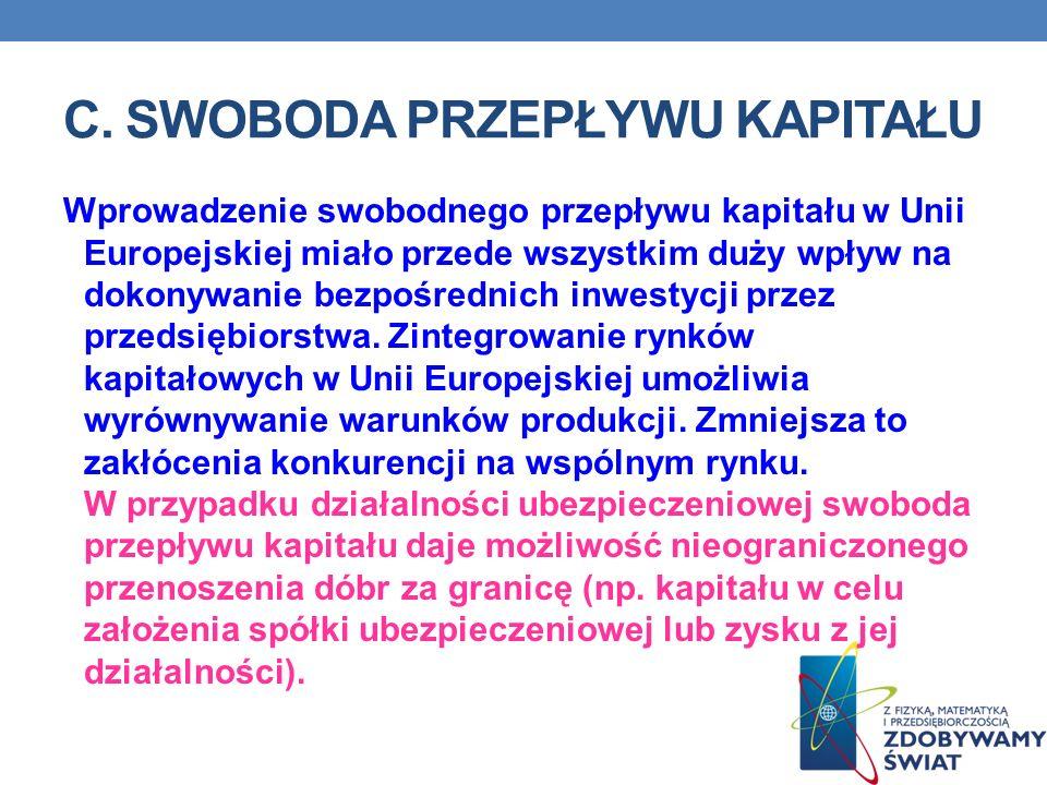 C. SWOBODA PRZEPŁYWU KAPITAŁU Wprowadzenie swobodnego przepływu kapitału w Unii Europejskiej miało przede wszystkim duży wpływ na dokonywanie bezpośre