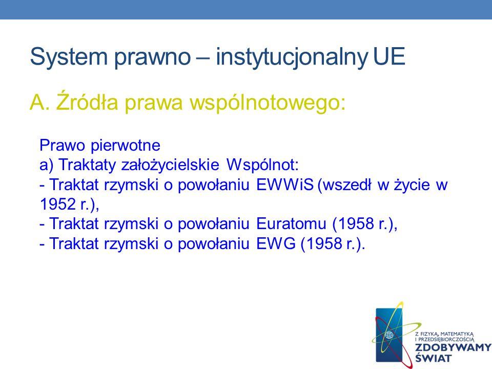 System prawno – instytucjonalny UE A. Źródła prawa wspólnotowego: Prawo pierwotne a) Traktaty założycielskie Wspólnot: - Traktat rzymski o powołaniu E