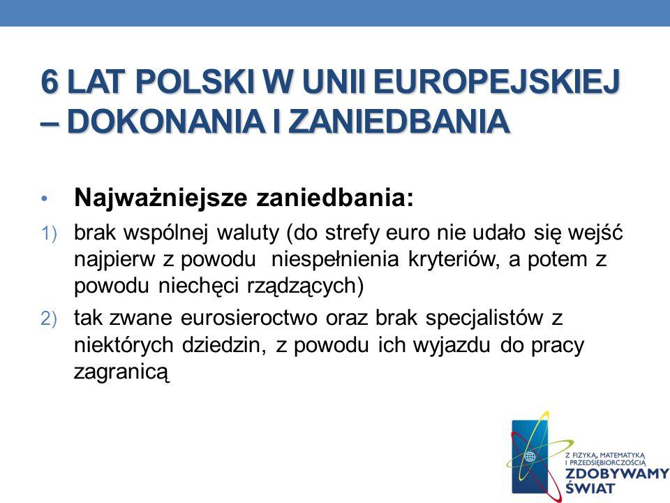 6 LAT POLSKI W UNII EUROPEJSKIEJ – DOKONANIA I ZANIEDBANIA Najważniejsze zaniedbania: 1) brak wspólnej waluty (do strefy euro nie udało się wejść najp