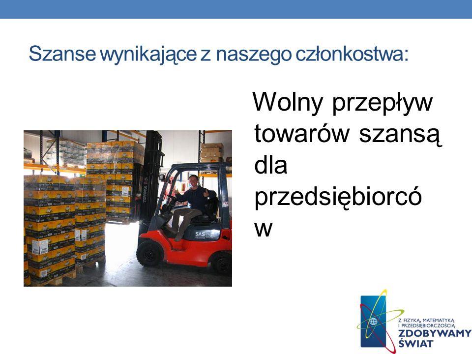 Szanse wynikające z naszego członkostwa: Wolny przepływ towarów szansą dla przedsiębiorcó w