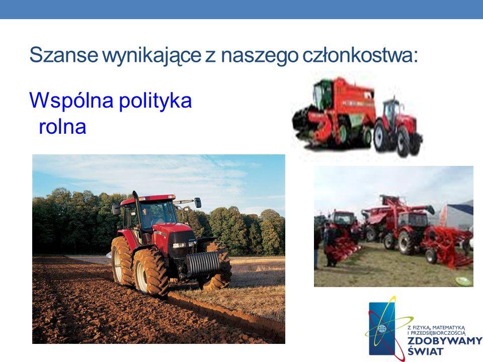 Szanse wynikające z naszego członkostwa: Wspólna polityka rolna