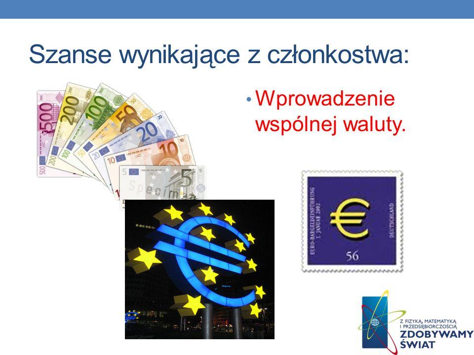 Szanse wynikające z członkostwa: Wprowadzenie wspólnej waluty.