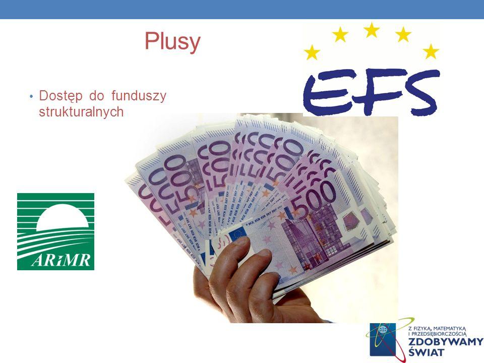 Plusy Dostęp do funduszy strukturalnych