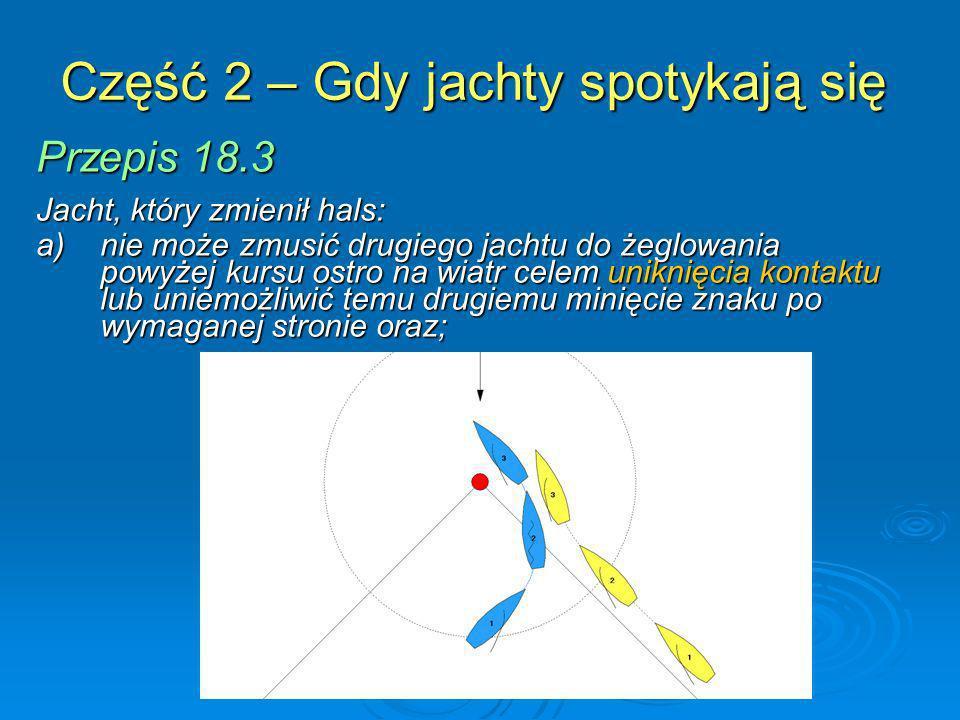 Część 2 – Gdy jachty spotykają się Przepis 18.3 Jacht, który zmienił hals: a) nie może zmusić drugiego jachtu do żeglowania powyżej kursu ostro na wia