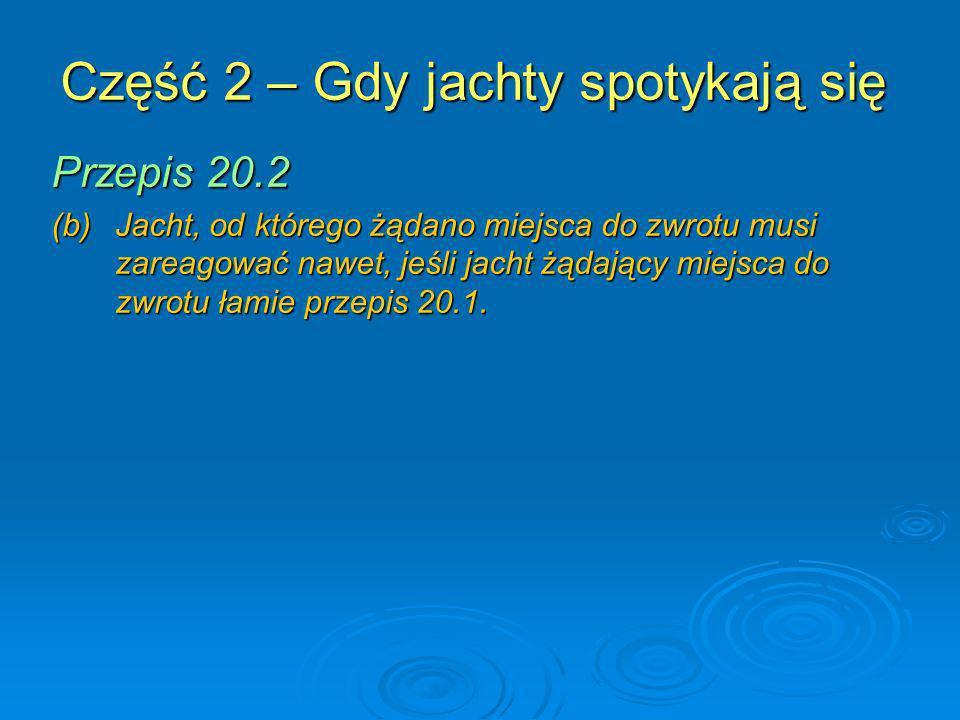 Część 2 – Gdy jachty spotykają się Przepis 20.2 (b) Jacht, od którego żądano miejsca do zwrotu musi zareagować nawet, jeśli jacht żądający miejsca do