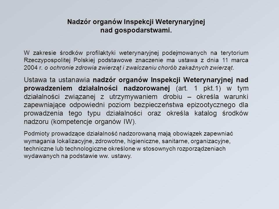 Nadzór organów Inspekcji Weterynaryjnej nad gospodarstwami. W zakresie środków profilaktyki weterynaryjnej podejmowanych na terytorium Rzeczypospolite