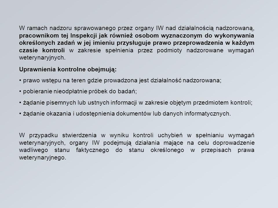 W ramach nadzoru sprawowanego przez organy IW nad działalnością nadzorowaną, pracownikom tej Inspekcji jak również osobom wyznaczonym do wykonywania o