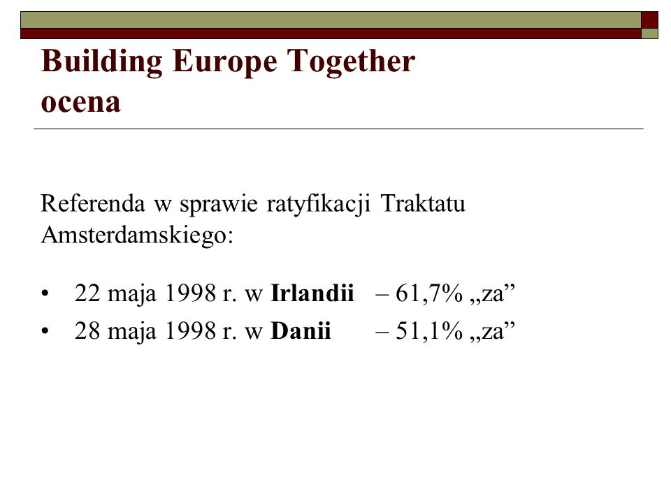 Building Europe Together ocena 22 maja 1998 r.w Irlandii – 61,7% za 28 maja 1998 r.