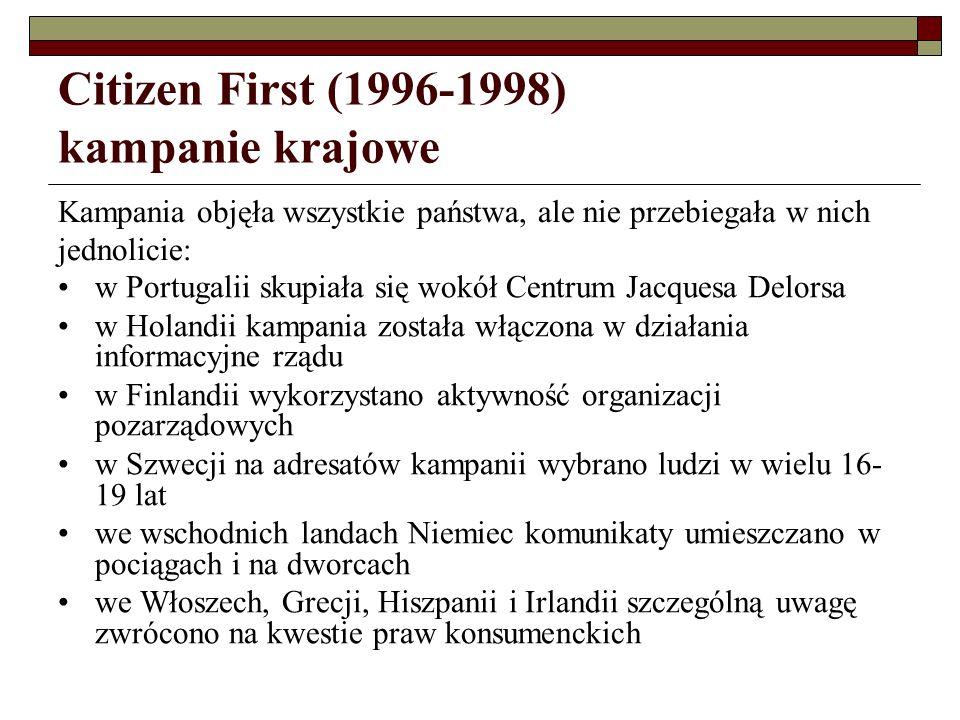 Citizen First (1996-1998) materiały informacyjne główne tematy: prawo do życia, pracy i studiowania w innym państwie członkowskim przewodniki o poszczególnych prawach informatory o tym, jak skorzystać z przysługujących praw, np.