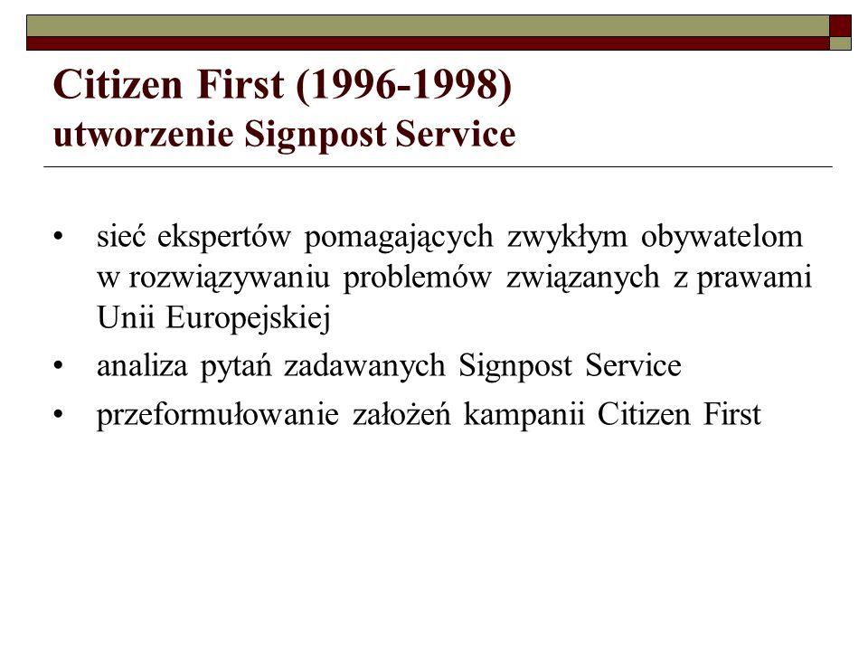 Dialogue with Citizens and Business od roku 1999 kampanię Citizen First przekształcono w stałą inicjatywę informacyjną Komisji Europejskiej Dialogue with Citizens and Business włączenie tej inicjatywy do usługi Europe Direct (telefoniczna i mailowa informacja o Unii Europejskiej i jednolitym rynku)
