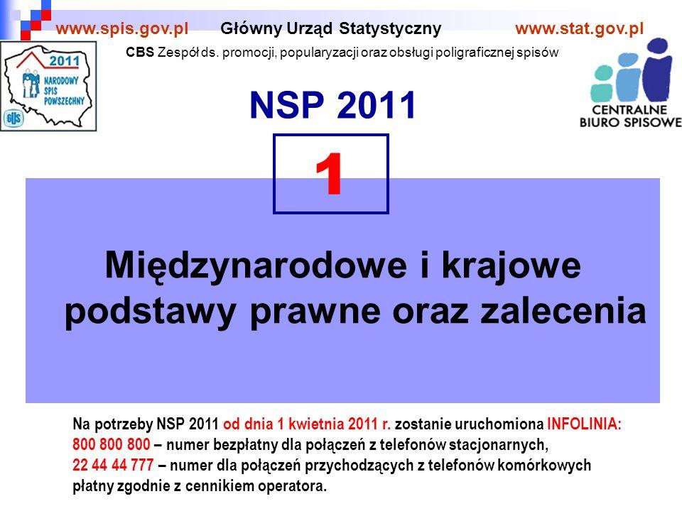 NSP 2011 Główny Urząd Statystycznywww.stat.gov.plwww.spis.gov.pl Międzynarodowe i krajowe podstawy prawne oraz zalecenia 1 Na potrzeby NSP 2011 od dnia 1 kwietnia 2011 r.