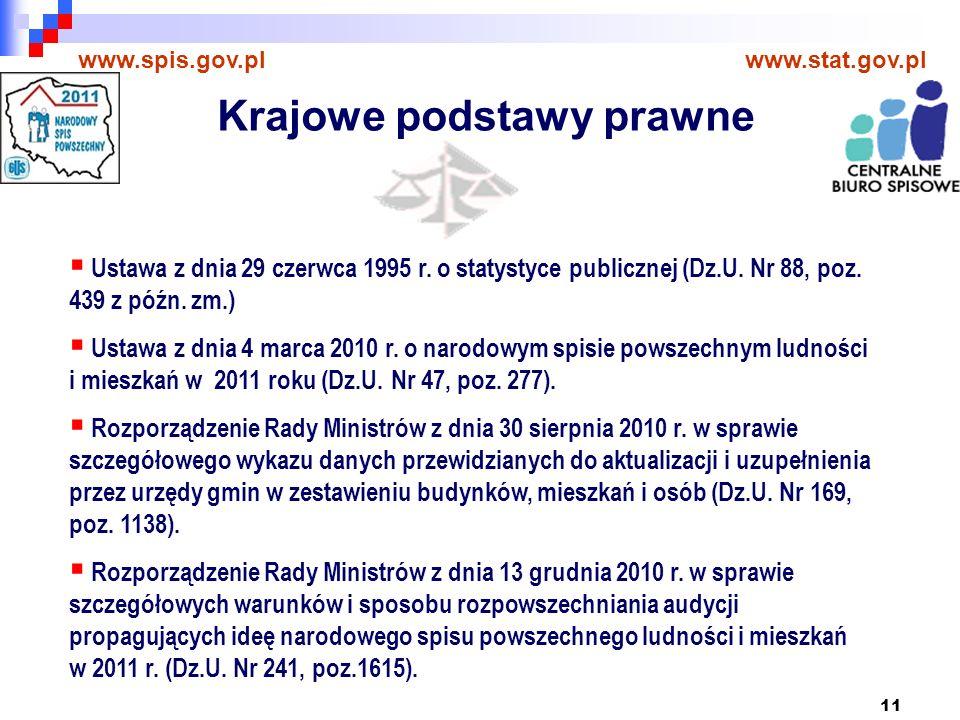 11 www.spis.gov.plwww.stat.gov.pl Ustawa z dnia 29 czerwca 1995 r.