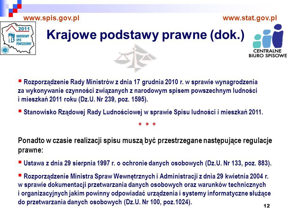 12 www.spis.gov.plwww.stat.gov.pl Rozporządzenie Rady Ministrów z dnia 17 grudnia 2010 r.