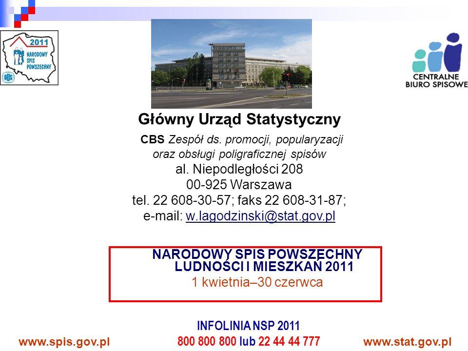 NARODOWY SPIS POWSZECHNY LUDNOŚCI I MIESZKAŃ 2011 1 kwietnia–30 czerwca www.spis.gov.plwww.stat.gov.pl INFOLINIA NSP 2011 800 800 800 lub 22 44 44 777 Główny Urząd Statystyczny CBS Zespół ds.