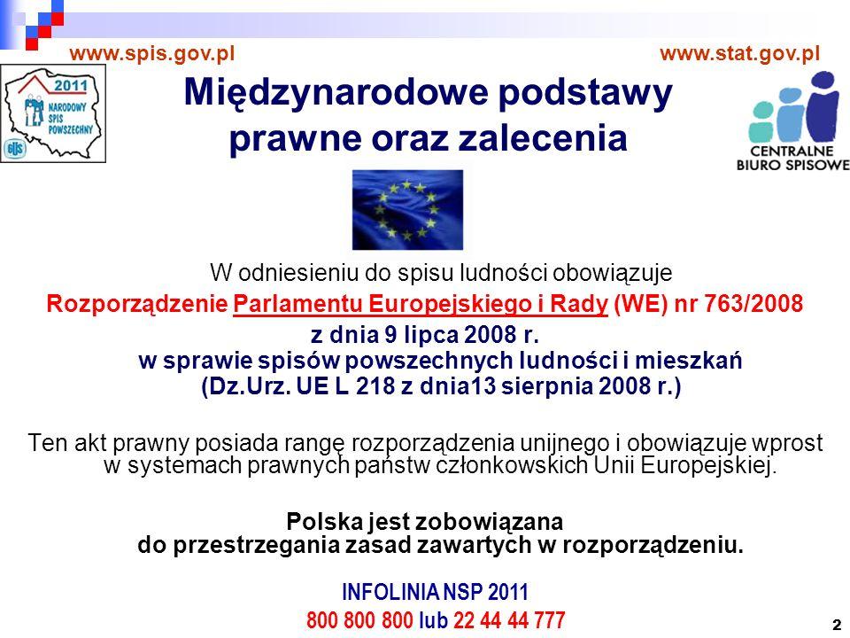 2 W odniesieniu do spisu ludności obowiązuje Rozporządzenie Parlamentu Europejskiego i Rady (WE) nr 763/2008 z dnia 9 lipca 2008 r.