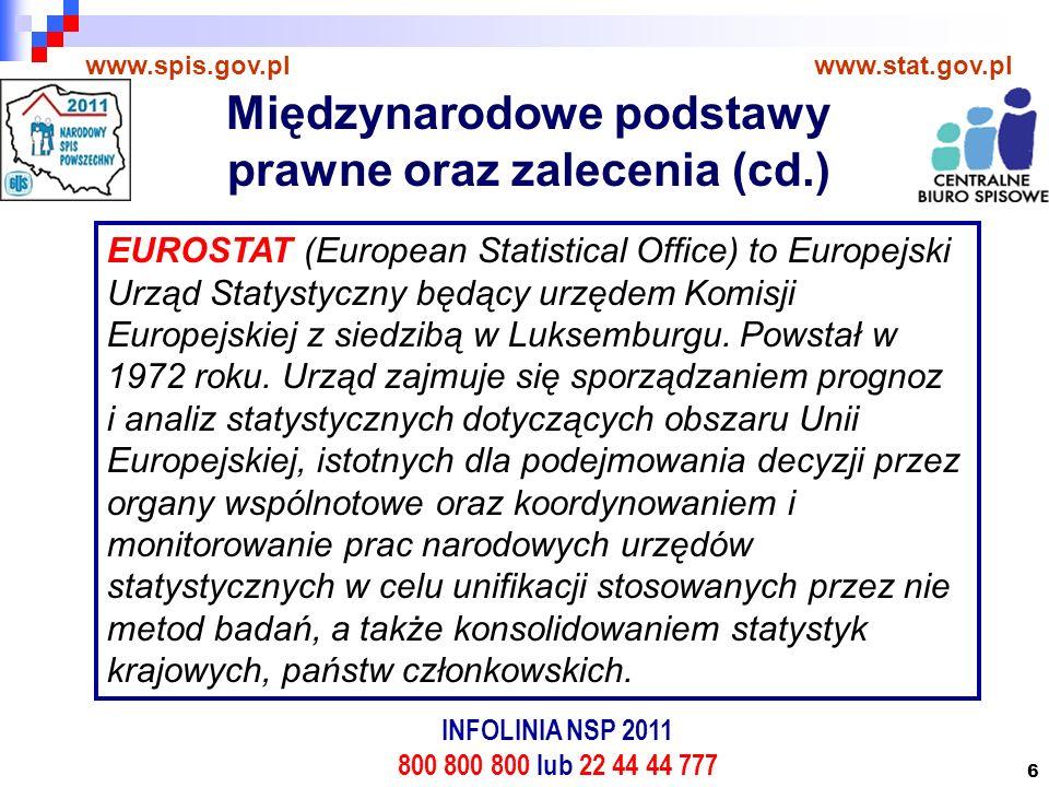 6 www.spis.gov.plwww.stat.gov.pl EUROSTAT (European Statistical Office) to Europejski Urząd Statystyczny będący urzędem Komisji Europejskiej z siedzibą w Luksemburgu.
