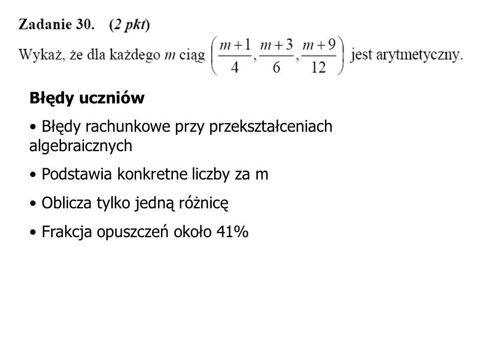 Błędy uczniów Zakłada, że prosta MK jest równoległa do prostej AB Dokonuje pomiarów cyrklem lub linijką i na tej podstawie stwierdza, że trójkąt jest równoboczny Frakcja opuszczeń około 60%