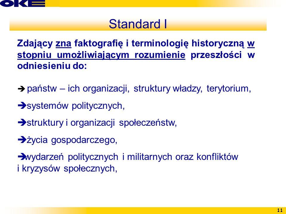 11 Standard I Zdający zna faktografię i terminologię historyczną w stopniu umożliwiającym rozumienie przeszłości w odniesieniu do: państw – ich organi