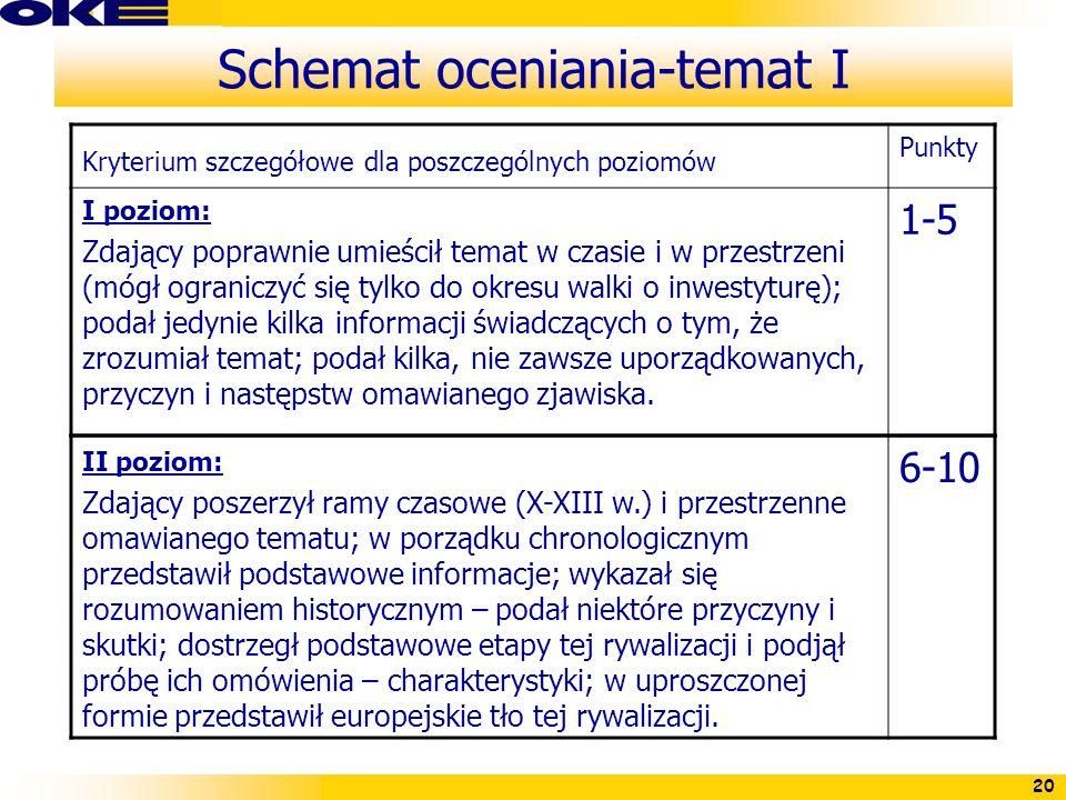 20 Schemat oceniania-temat I Kryterium szczegółowe dla poszczególnych poziomów Punkty I poziom: Zdający poprawnie umieścił temat w czasie i w przestrz