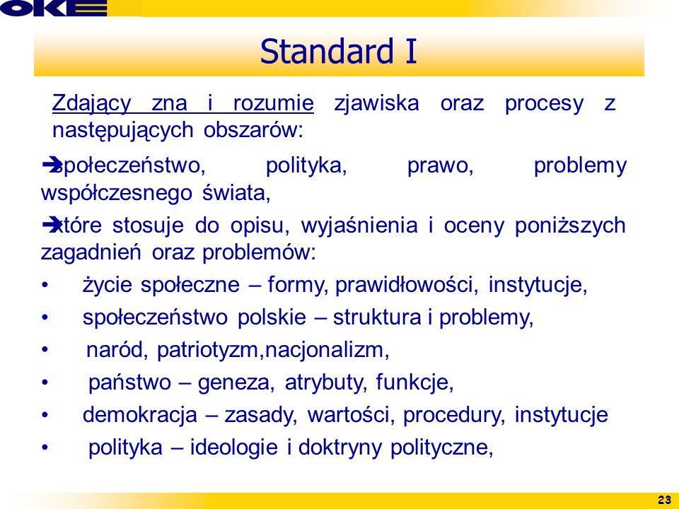 23 Standard I Zdający zna i rozumie zjawiska oraz procesy z następujących obszarów: społeczeństwo, polityka, prawo, problemy współczesnego świata, któ