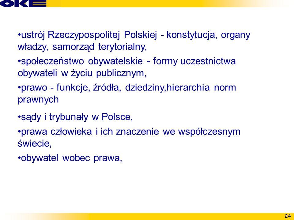 24 ustrój Rzeczypospolitej Polskiej - konstytucja, organy władzy, samorząd terytorialny, społeczeństwo obywatelskie - formy uczestnictwa obywateli w ż