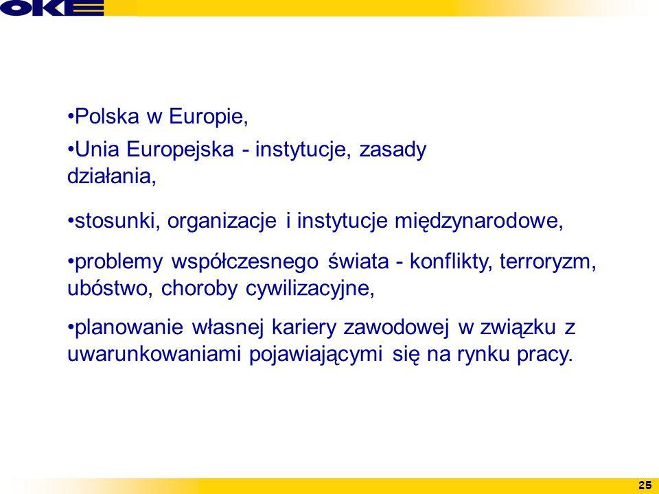 25 Polska w Europie, Unia Europejska - instytucje, zasady działania, stosunki, organizacje i instytucje międzynarodowe, problemy współczesnego świata