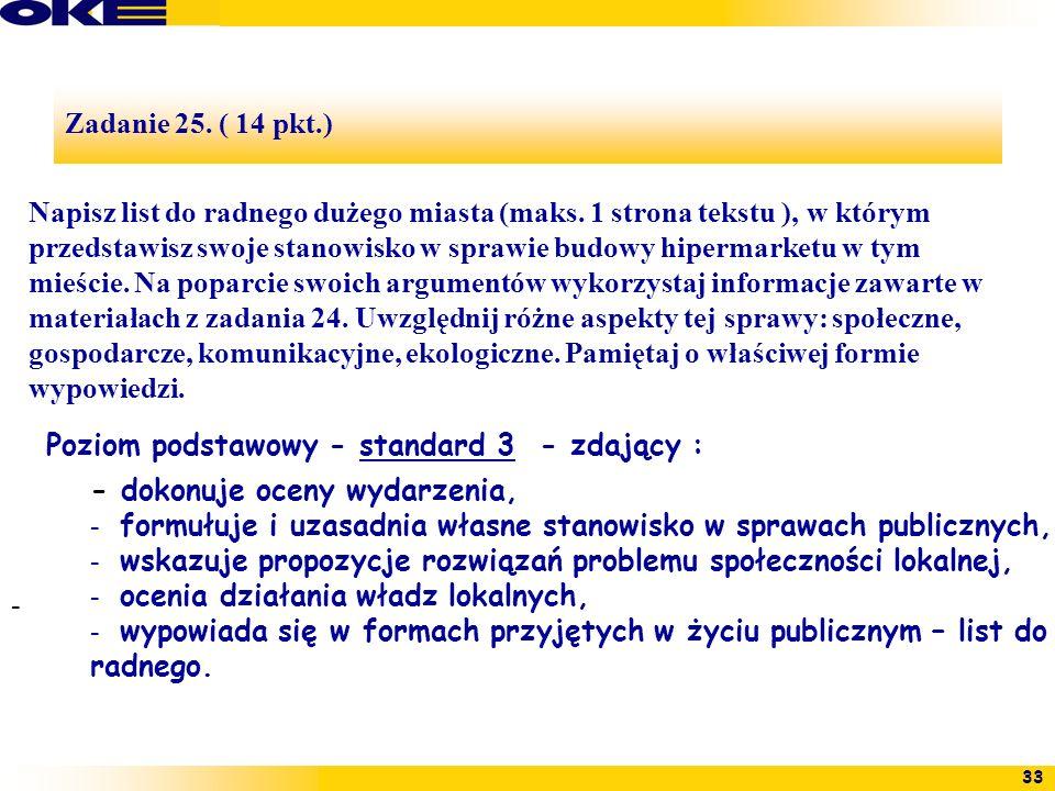 33 Zadanie 25. ( 14 pkt.) - Napisz list do radnego dużego miasta (maks. 1 strona tekstu ), w którym przedstawisz swoje stanowisko w sprawie budowy hip
