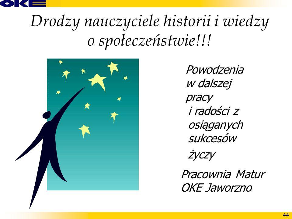 44 Drodzy nauczyciele historii i wiedzy o społeczeństwie!!! Powodzenia w dalszej pracy Pracownia Matur OKE Jaworzno i radości z osiąganych sukcesów ży