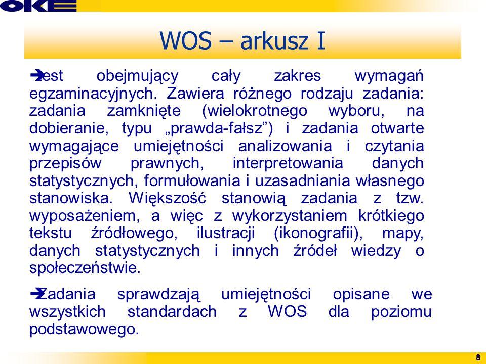 8 WOS – arkusz I test obejmujący cały zakres wymagań egzaminacyjnych. Zawiera różnego rodzaju zadania: zadania zamknięte (wielokrotnego wyboru, na dob