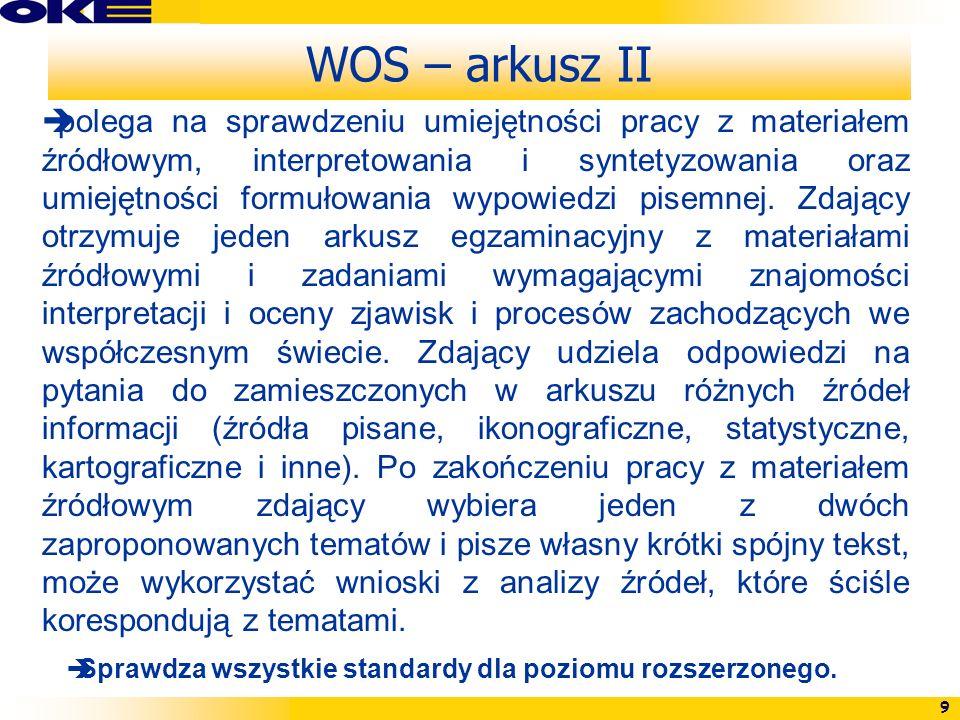 9 WOS – arkusz II polega na sprawdzeniu umiejętności pracy z materiałem źródłowym, interpretowania i syntetyzowania oraz umiejętności formułowania wyp
