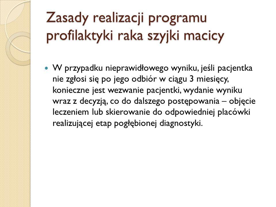 Zasady realizacji programu profilaktyki raka szyjki macicy W przypadku nieprawidłowego wyniku, jeśli pacjentka nie zgłosi się po jego odbiór w ciągu 3