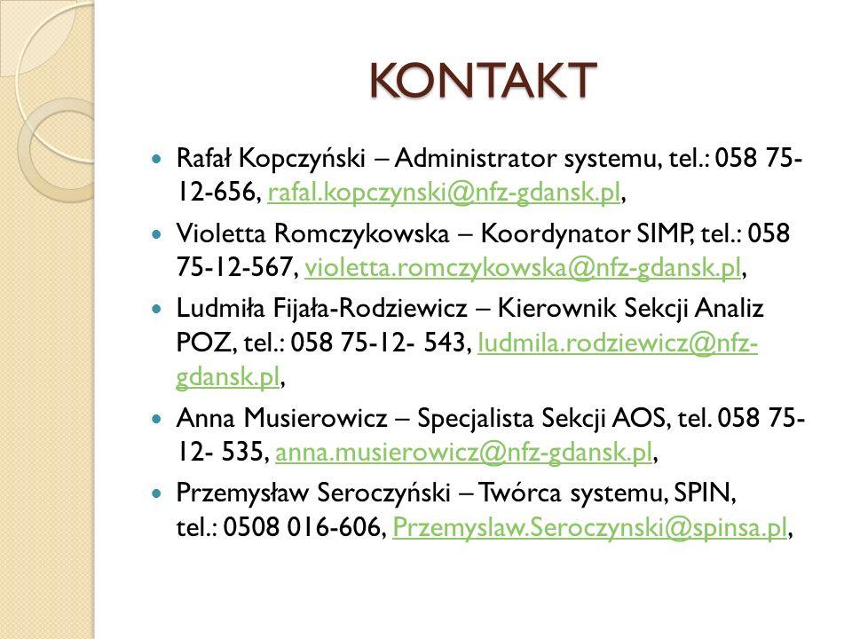 KONTAKT Rafał Kopczyński – Administrator systemu, tel.: 058 75- 12-656, rafal.kopczynski@nfz-gdansk.pl,rafal.kopczynski@nfz-gdansk.pl Violetta Romczyk