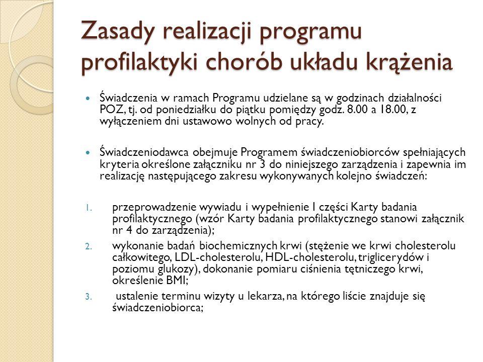 Zasady realizacji programu profilaktyki chorób układu krążenia Świadczenia w ramach Programu udzielane są w godzinach działalności POZ, tj. od poniedz