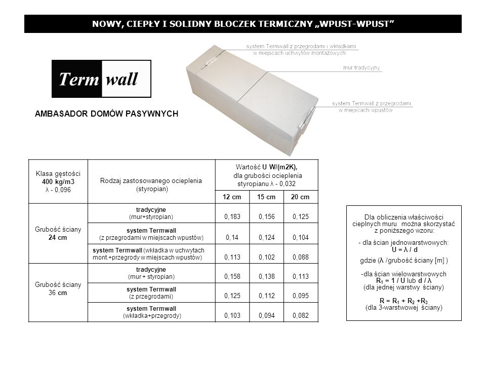 NOWY, CIEPŁY I SOLIDNY BLOCZEK TERMICZNY WPUST-WPUST Dla obliczenia właściwości cieplnych muru można skorzystać z poniższego wzoru: - dla ścian jednow