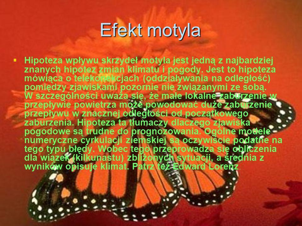 Efekt motyla Hipoteza wpływu skrzydeł motyla jest jedną z najbardziej znanych hipotez zmian klimatu i pogody.