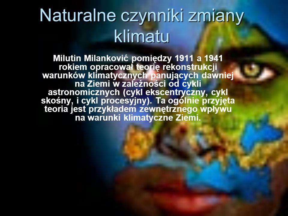 Naturalne czynniki zmiany klimatu Milutin Milanković pomiędzy 1911 a 1941 rokiem opracował teorię rekonstrukcji warunków klimatycznych panujących dawniej na Ziemi w zależności od cykli astronomicznych (cykl ekscentryczny, cykl skośny, i cykl procesyjny).