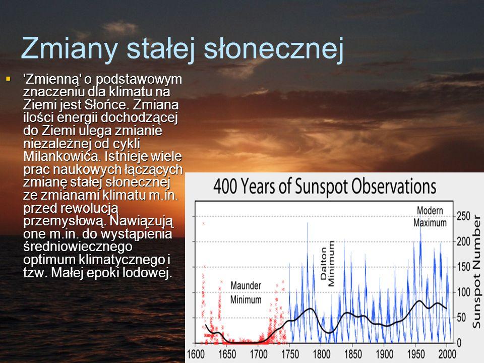 Zmiany stałej słonecznej Zmienną o podstawowym znaczeniu dla klimatu na Ziemi jest Słońce.